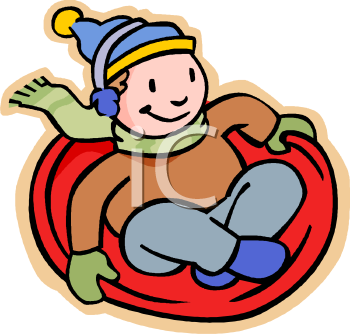 Boy Riding a Toboggan.