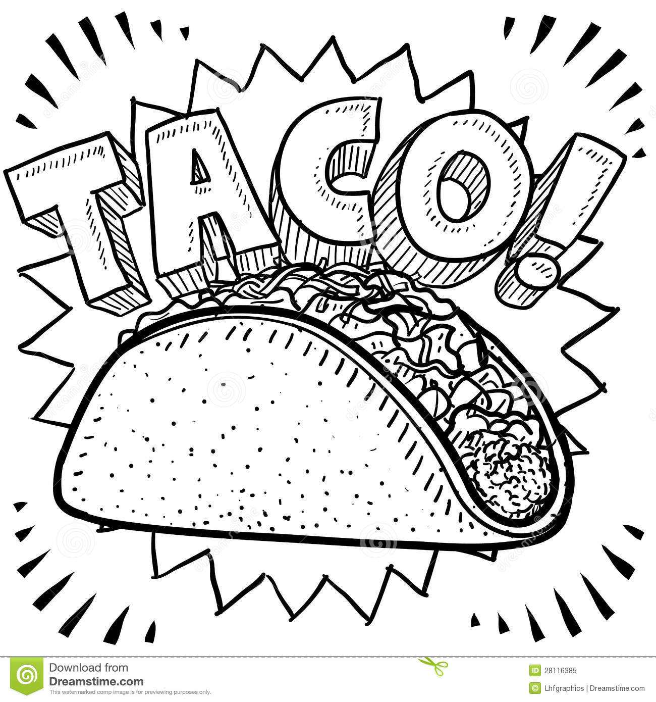 Taco Black And White Clipart.