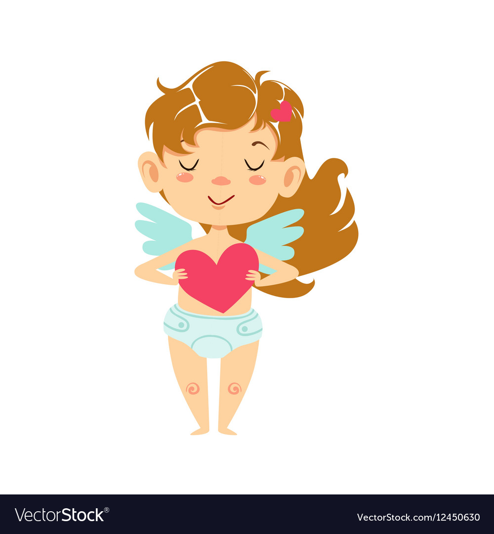 Girl Baby Cupid Holding A Heart Winged Toddler In.