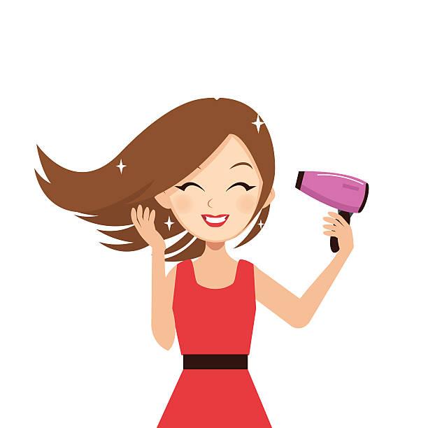 Girl Drying Hair Clipart.