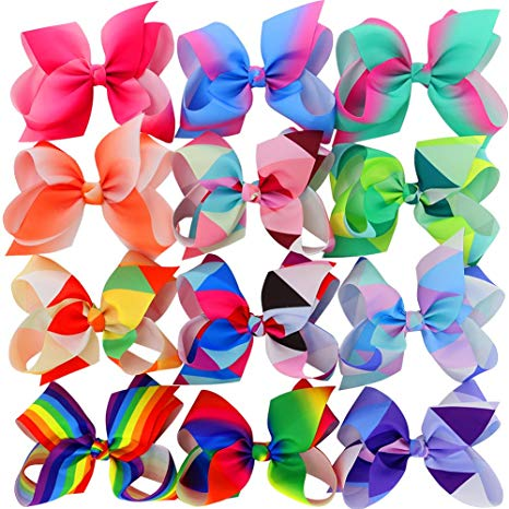 Myamy 6 inches Hair Bows For Girls Large Big Grosgrain Ribbon Boutique  Rainbows Hair Bow Clips For Kids Toddlers Teens Children Gifts Set Of 12.