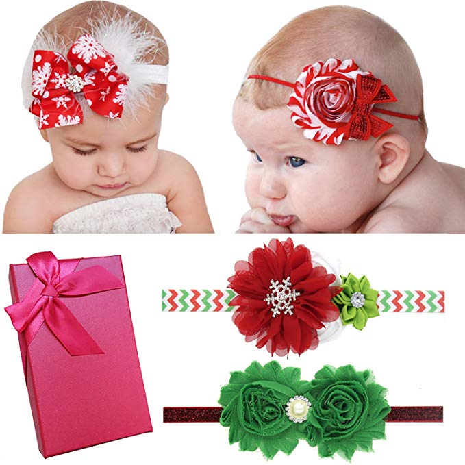 Elesa Miracle Baby Girl Nylon Headbands and Bows Gift Box Set for Newborn  Infant Toddler Kids.