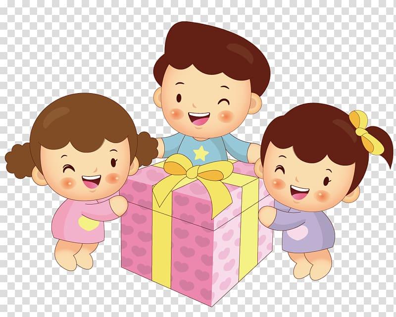 Child Gift Mother Illustration, Children around gift.