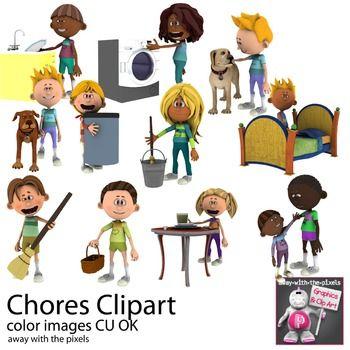 Kids Doing Chores Clipart.