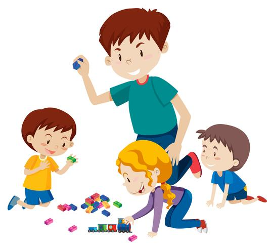 Dad playing blocks with his children.