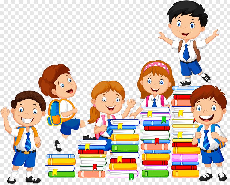 Six children with books illustration, Book, school kids free.