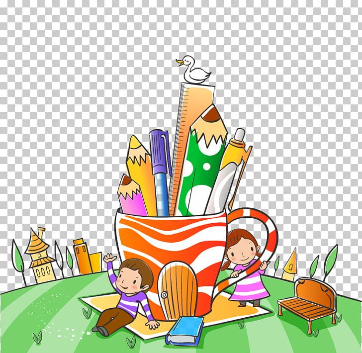 Child School Cartoon Illustration, two pen against children.