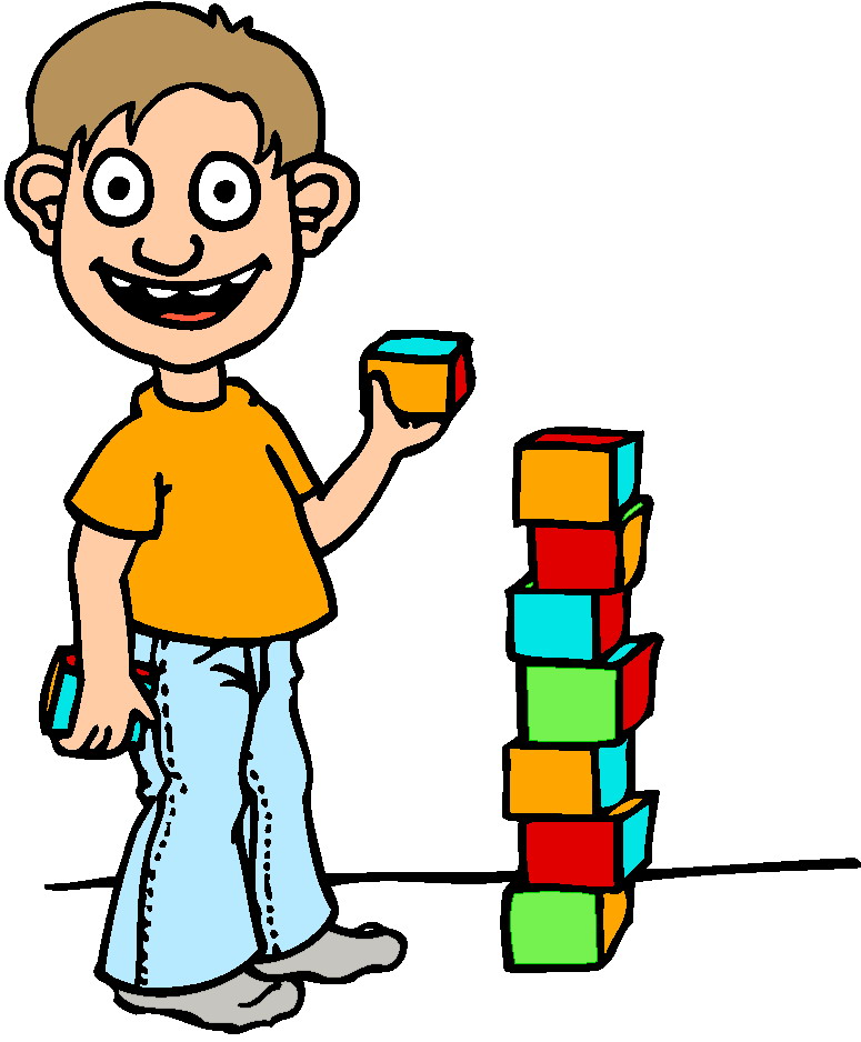 Child Playing With Blocks Clipart.