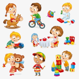 Free Children Playing Clip Art with No Background.
