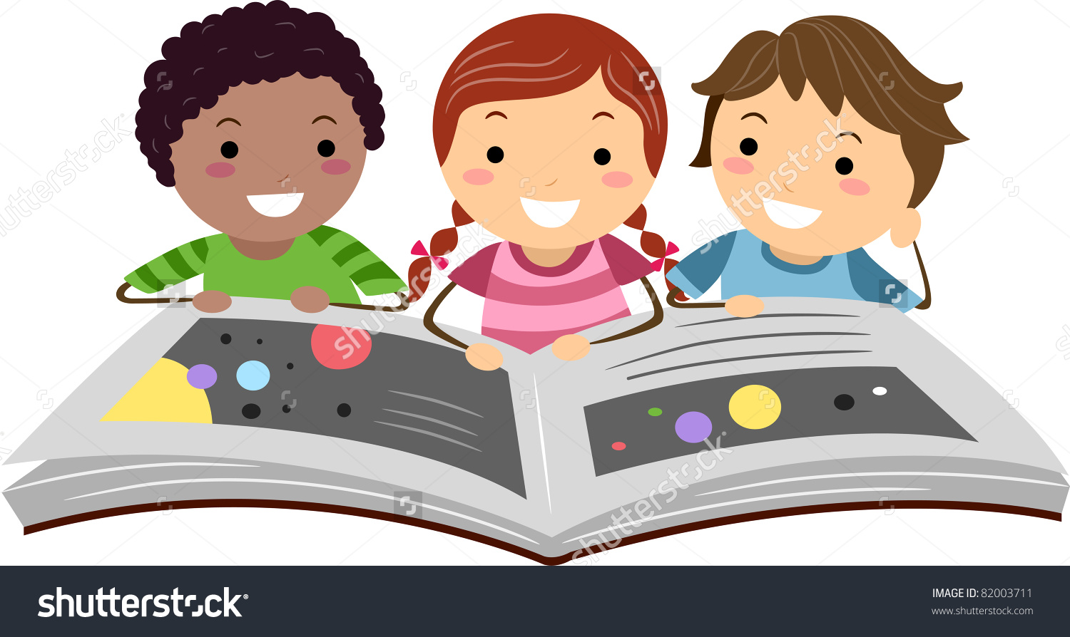 122 Kids Reading Clipart.