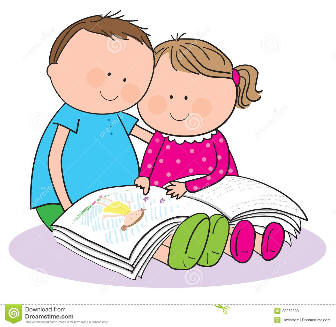 Two Children Reading Clipart.