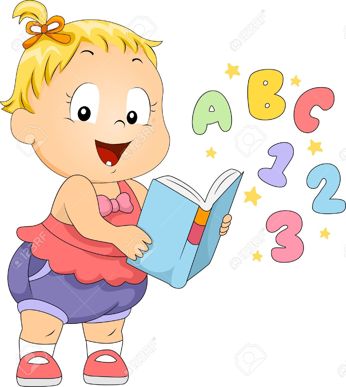 Illustration Of A Toddler Reading A Book Stock Photo, Picture And.