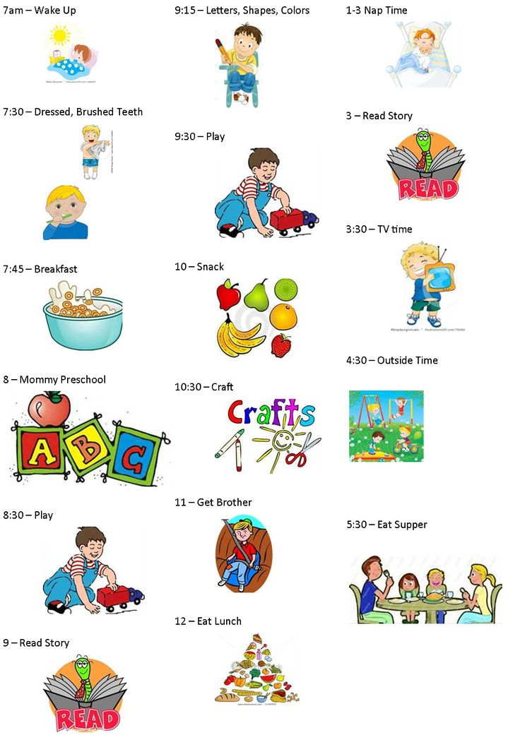 Toddler Schedule Clipart.
