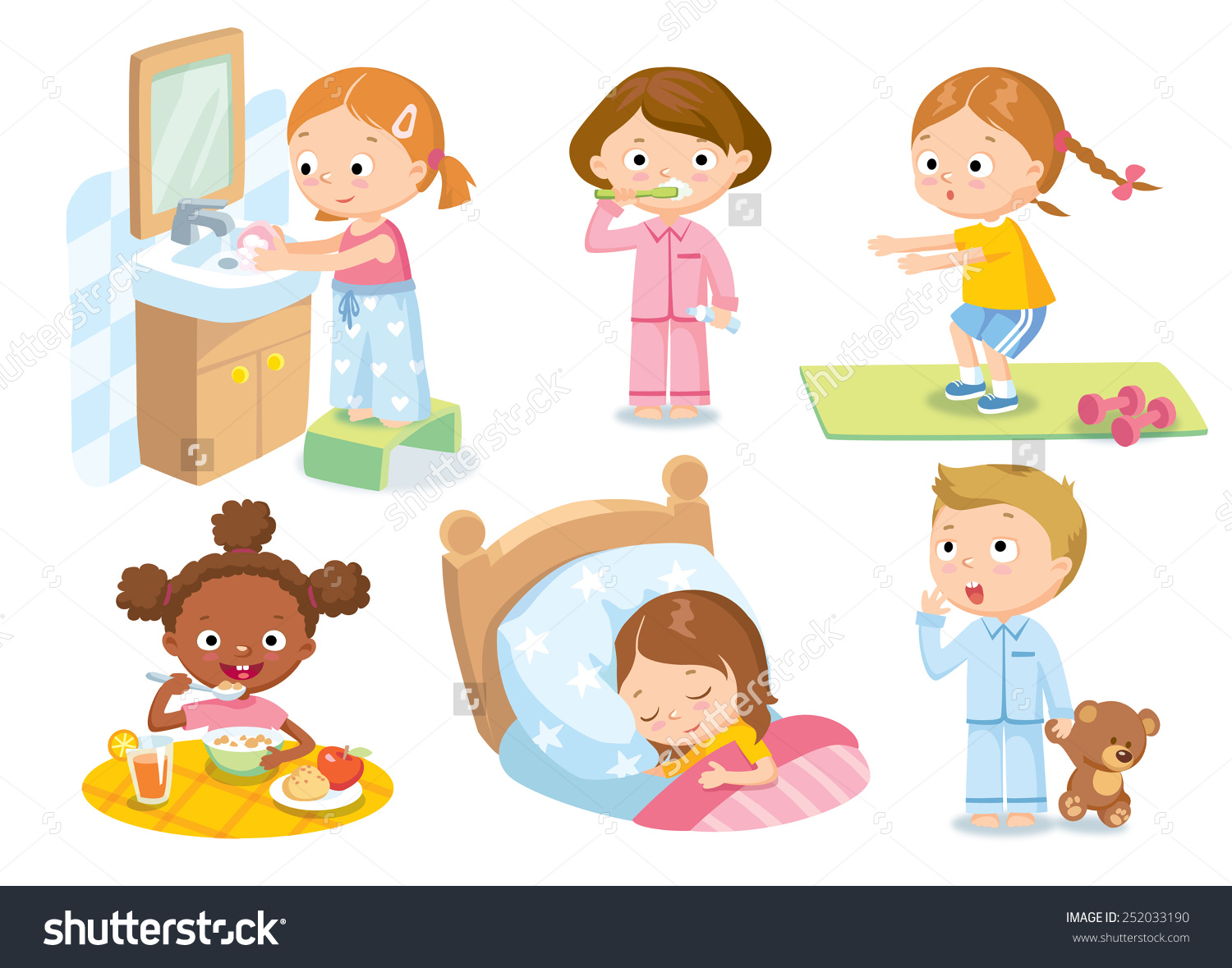 Childrens Daily Routine Stock Vector 252033190