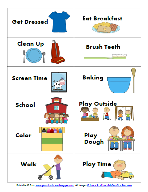 Toddler Schedule Clipart.