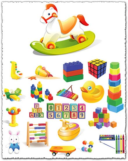 Children toys vector cliparts.
