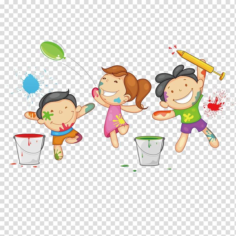 Three toddlers playing illustration, Holi Drawing , Graffiti.