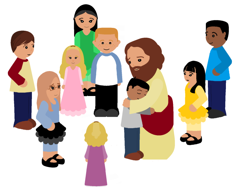Group Of Children Praying Clipart.