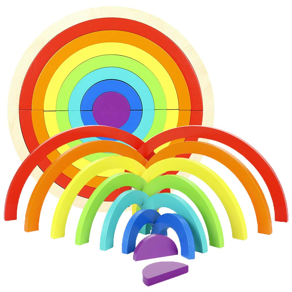 Amazon.com: RTWAY Rainbow Stacker, Wooden Rainbow Stacking.