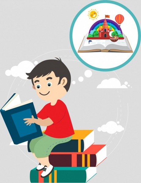 Childhood background kid book stack imagination icons Free.