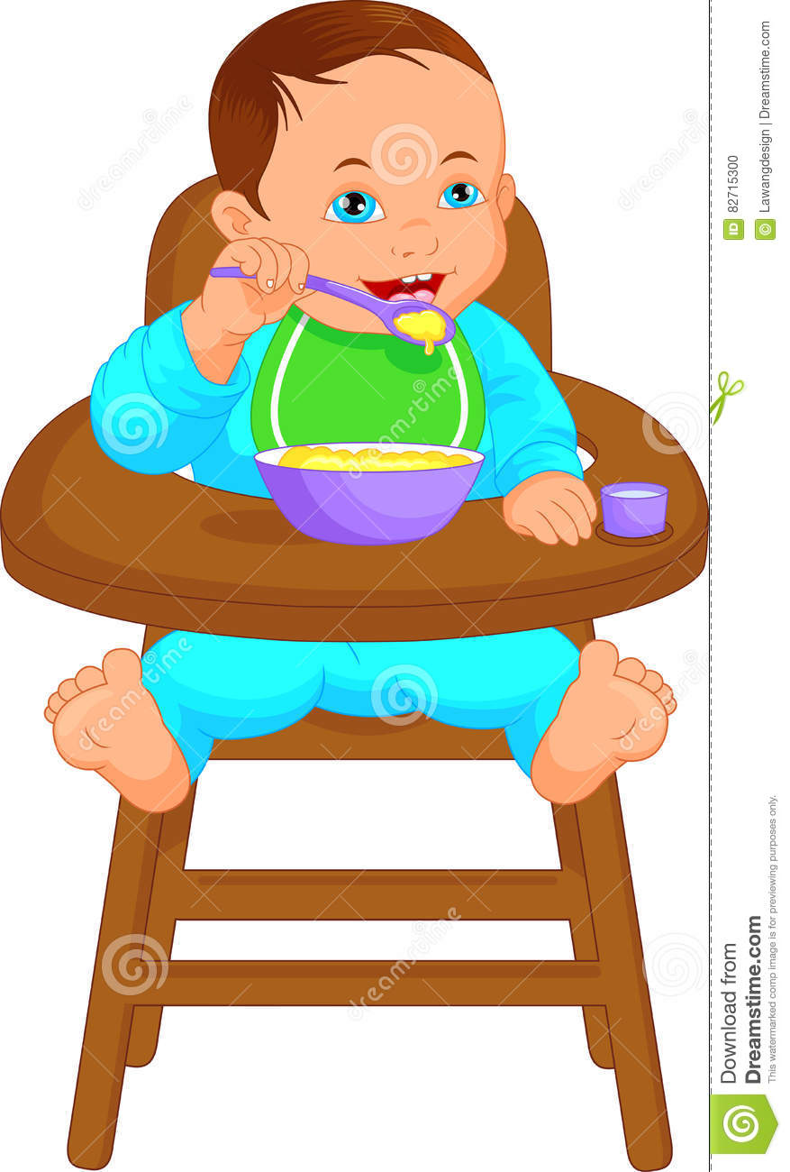 Baby Eating Food Clipart.