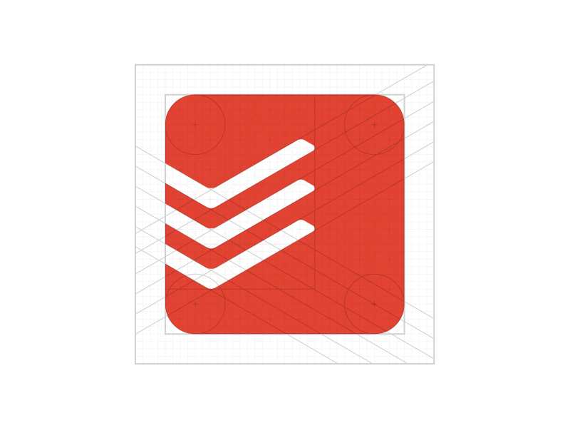 The construction of Todoist logo by Wallace Chao for Doist.