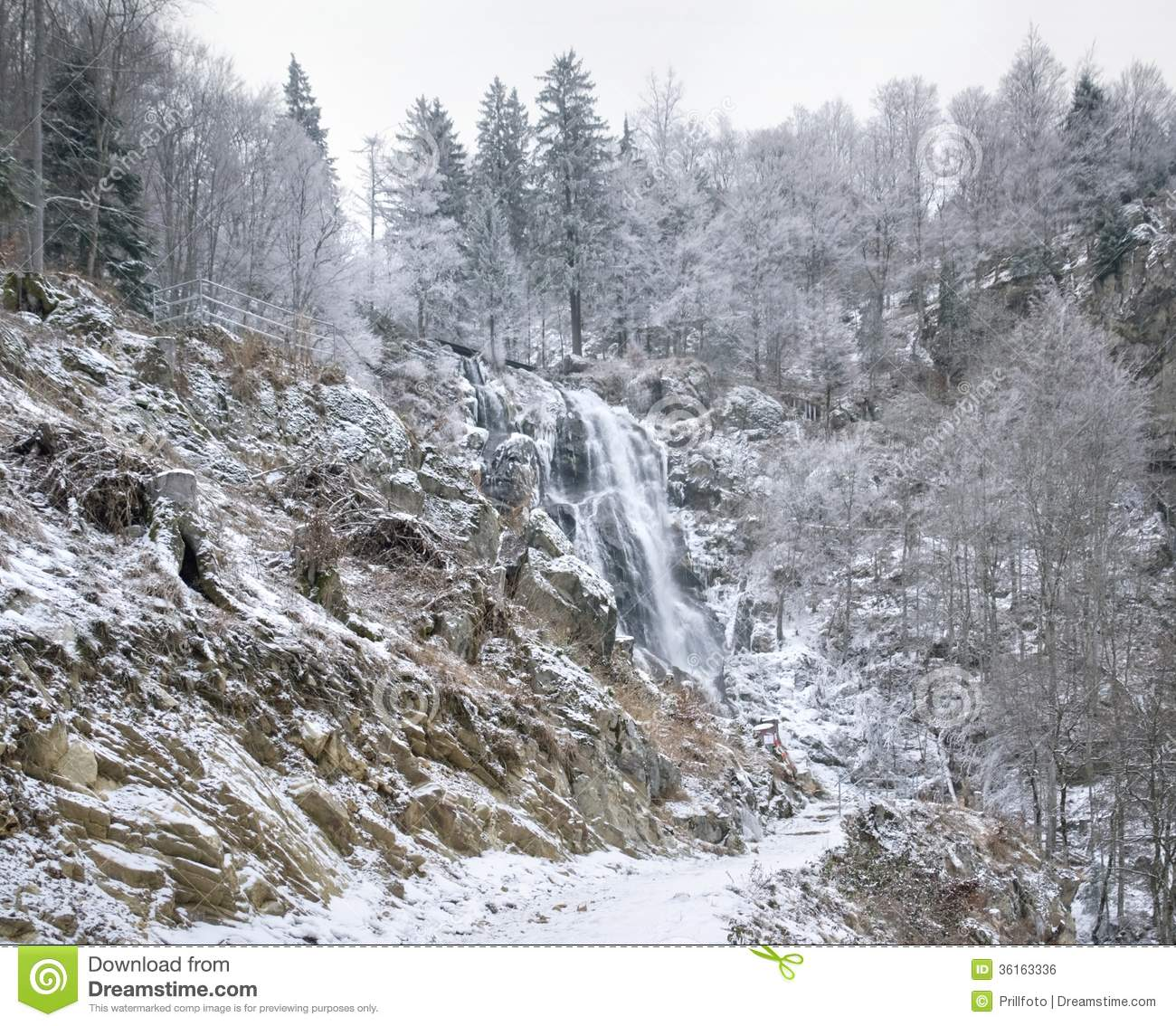 Todtnau Waterfall At Winter Time Royalty Free Stock Image.