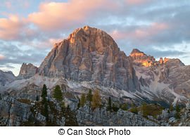 Stock Photography of Cinque Torri Dolomites, sunset in the Autumn.