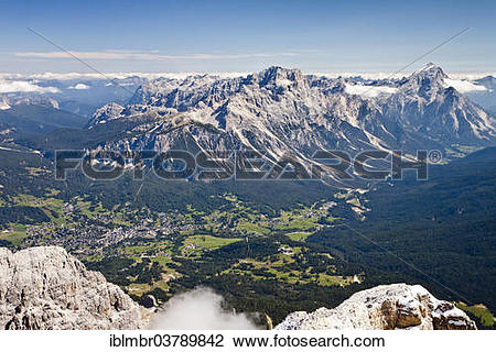 "Stock Photo of ""View from the top of Tofana di Roze, below the."