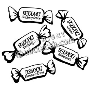 Toffee clipart black and white.