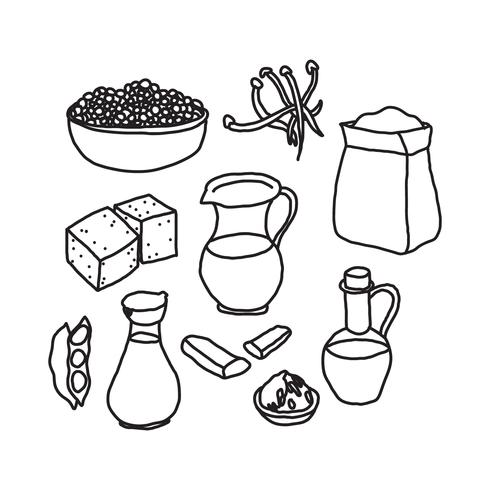 Black & White Doodles About Tofu And Other Vegan Proteins.