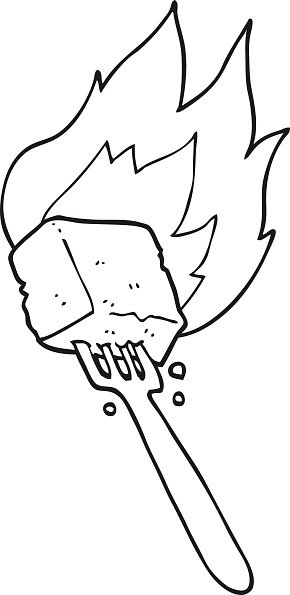 black and white cartoon flaming tofu on fork Clipart Image.