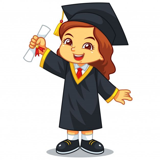 Girl graduation with toga and certificate. Premium Vector.