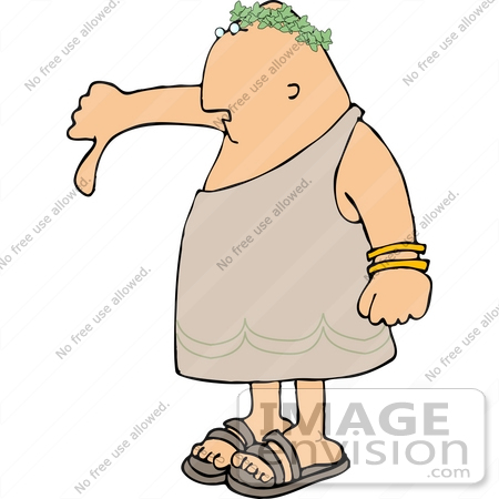 Emperor in a Toga Giving the Thumbs Down Sign Clipart.