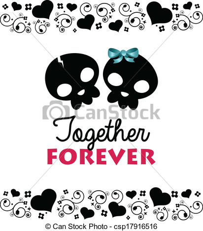 Vector Clip Art of Together Forever Valentines Card.