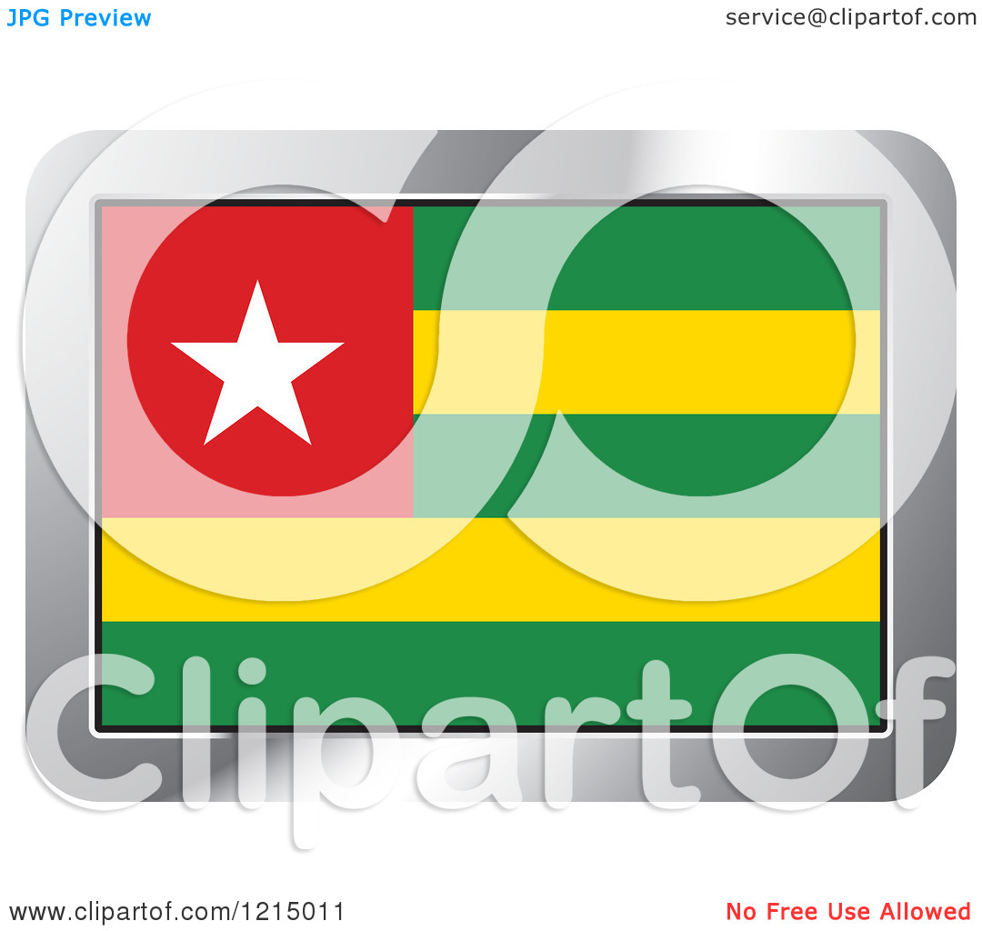 Clipart of a Togo Flag and Silver Frame Icon.
