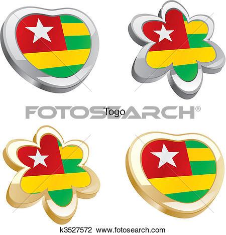 Clipart of togo flag heart and flower k3527572.