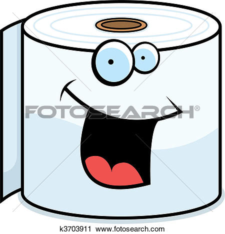 Clipart of Toilet Paper Smiling k3703911.