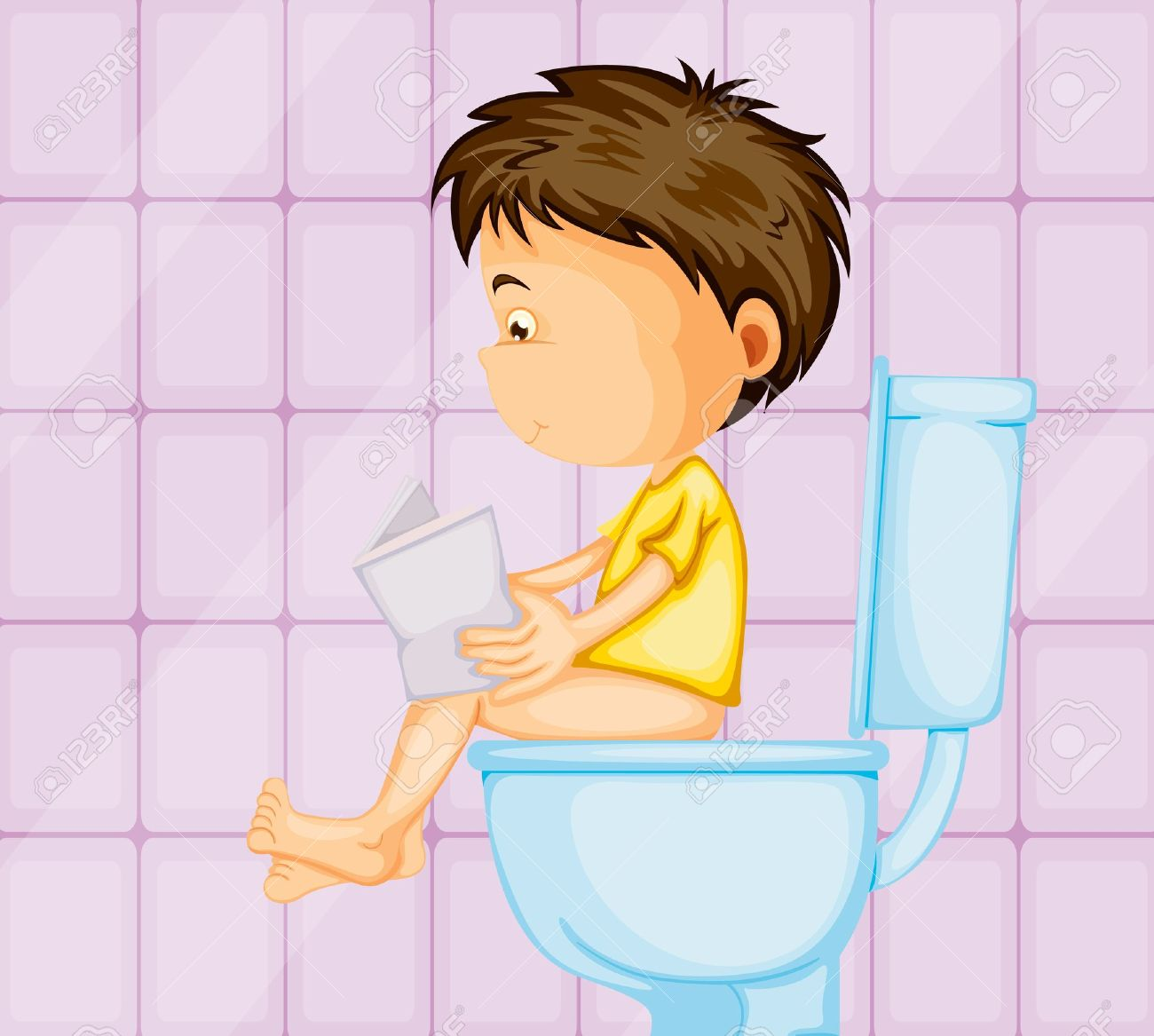Kind auf toilette clipart.