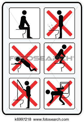 Clip Art of illustration signs how not to use a toilette k6997218.