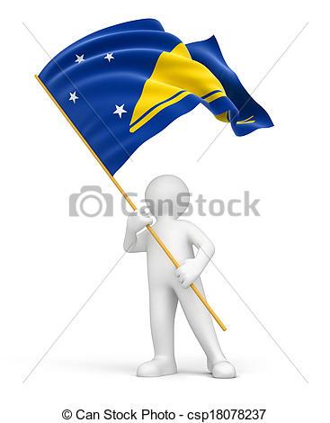 Drawings of Man and Tokelau flag. Image csp18078237.