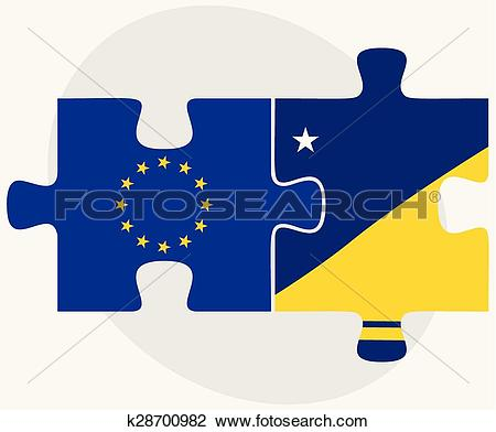Clipart of European Union and Tokelau Flags k28700982.