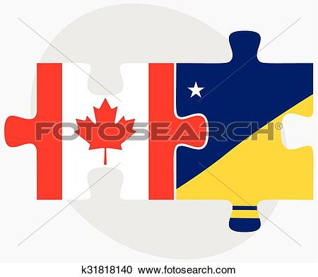 Clipart of Canada and Tokelau Flags k31818140.