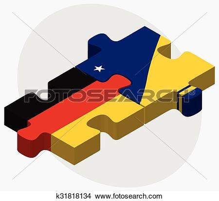 Clipart of Germany and Tokelau Flags k31818134.