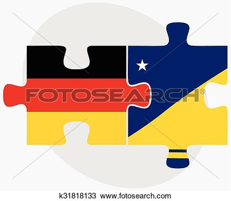 Clipart of Germany and Tokelau Flags k31818133.
