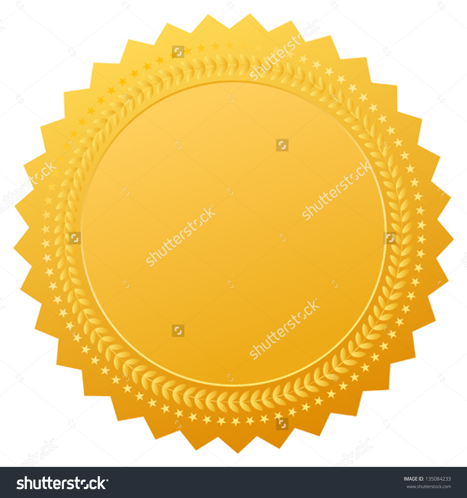 Blank Gold Seal Vector Clip Art Stock Vector 135084233.