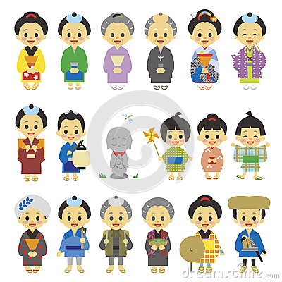 People Of Edo Period Japan 01 Stock Vector.