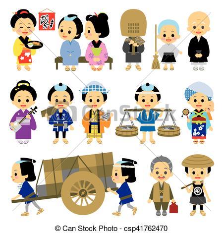 Vectors Illustration of People of Edo period Japan 03 various.