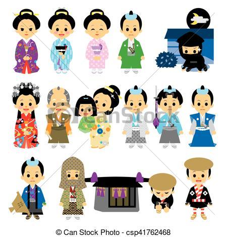 Clip Art Vector of People of Edo period Japan 02 samurai, Tokugawa.