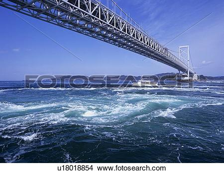 Stock Photo of Whirlpool, Naruto City, Tokushima Prefecture, Japan.